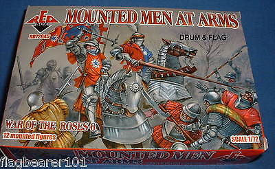 REDBOX 72045 MOUNTED MEN-AT-ARMS. WAR OF THE ROSES. 1/72 SCALE PLASTIC FIGURES
