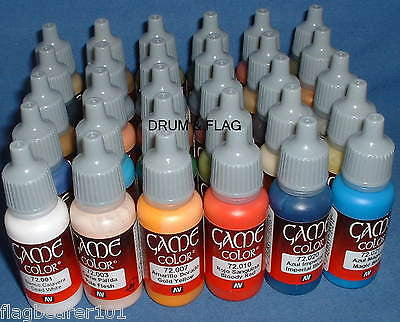 VALLEJO GAME COLOR PAINT - ANY 30 OF YOUR CHOICE - WATER BASED ACRYLIC PAINTS
