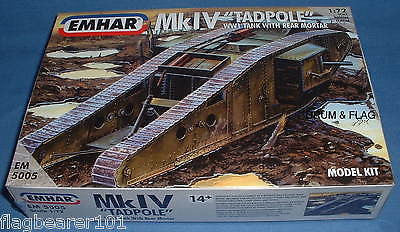 EMHAR 5005. BRITISH MkIV WW1 TADPOLE TANK w REAR MORTAR. 1:72 SCALE PLASTIC KIT