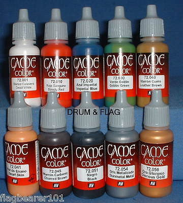 VALLEJO GAME COLOR PAINT - BRITISH INFANTRY 24th FOOT ZULU WARS - 10 BOTTLE SET