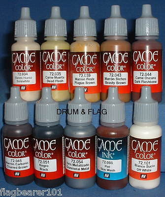 VALLEJO GAME COLOR PAINT - ZULU WARRIORS - 10 BOTTLE SET - WATER BASED ACRYLICS