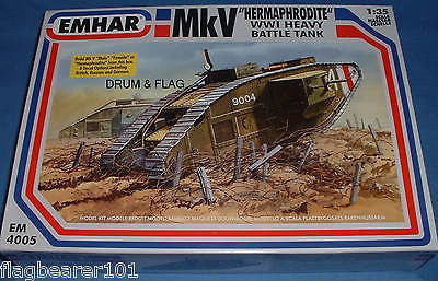 "EMHAR 4005. BRITISH Mk.V WW1 HEAVY BATTLE TANK. ""HERMAPHRODITE"" 1:35 SCALE KIT"