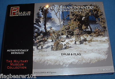 PEGASUS 7271 WW2 RUSSIAN INFANTRY IN GREATCOATS 1/72 SCALE UNPAINTED PLASTIC