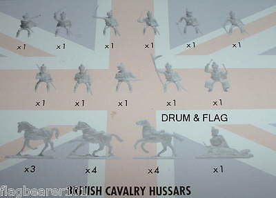 NAPOLEONIC BRITISH CAVALRY. HUSSARS. AIRFIX BATTLE OF WATERLOO. 1/72 SCALE