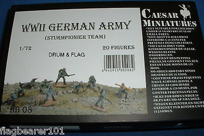 CAESAR HB08 - WW2 GERMAN ARMY (STURMPIONIER TEAM) - 1/72 SCALE PLASTIC