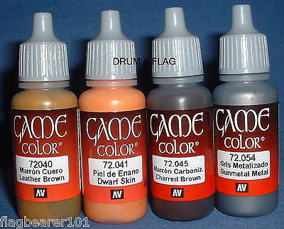 VALLEJO GAME COLOR PAINT - UTILITY SET MULTI-PURPOSE - 4 x 17ml bottles. DF55