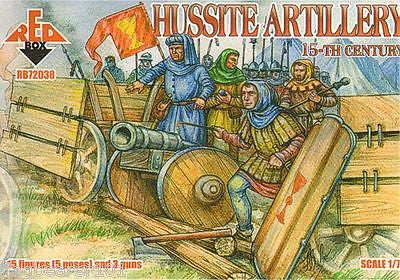 REDBOX 72038 HUSSITE ARTILLERY 15th C. 1/72 SCALE 15 FIGS & 3 GUNS. HUSSITES