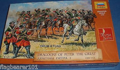 ZVEZDA 8072 RUSSIAN DRAGOONS PETER THE GREAT - 1:72 SCALE UNPAINTED PLASTIC X 19