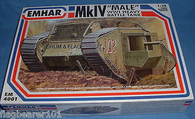 "EMHAR 4001. BRITISH Mk.IV WW1 ""MALE"" TANK. 1:35 SCALE PLASTIC KIT"