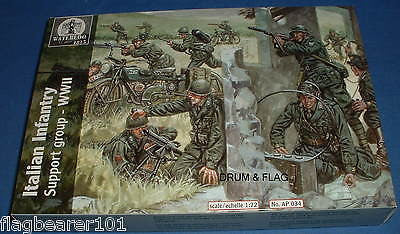 Waterloo1815 AP034 WW2 ITALIAN INFANTRY SUPPORT GROUP 1:72 SCALE PLASTIC FIGURES