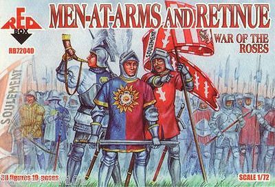 REDBOX 72040 - WAR OF THE ROSES MEN-AT-ARMS & RETINUE. 1:72 SCALE