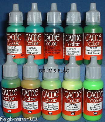 VALLEJO GAME COLOR PAINT - GREEN TONES 10 BOTTLE SET - WATER BASED ACRYLIC 17ml