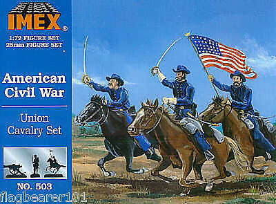 IMEX 503 CIVIL WAR UNION CAVALRY. 1:72 SCALE. UNPAINTED PLASTIC FIGURES