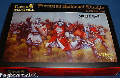 CAESAR 87 - EUROPEAN MEDIEVAL KNIGHTS 13th C. - 1:72 SCALE PLASTIC FIGURES X 34