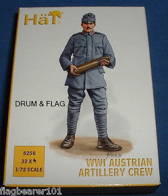 HAT 8258 WW1 AUSTRIAN ARTILLERY CREW X 32 FIGURES IN 8 POSES 1/72 SCALE