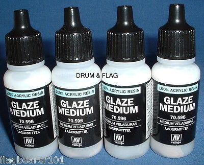 VALLEJO GLAZE MEDIUM - 4 x 17ml bottles.