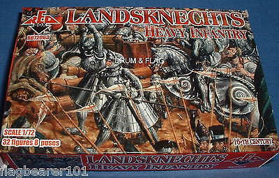REDBOX 72063 LANDSKNECHTS HEAVY INFANTRY. 1/72 SCALE UNPAINTED PLASTIC.