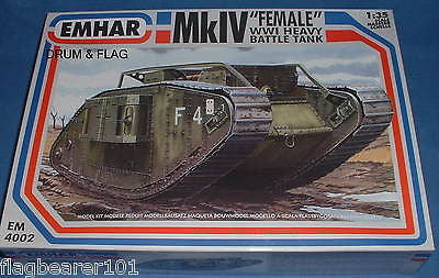 "EMHAR 4002. BRITISH Mk.IV WW1 ""FEMALE"" TANK. 1:35 SCALE PLASTIC KIT"