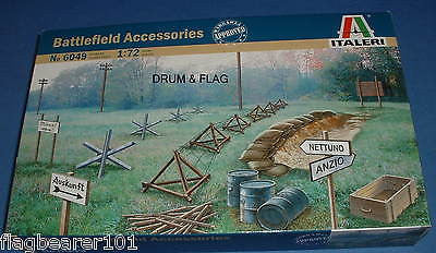ITALERI 6049 - WW2 BATTLEFIELD ACCESSORIES. 1:72 SCALE UNPAINTED PLASTIC