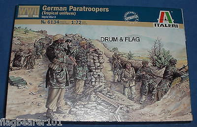 ITALERI 6134. GERMAN PARATROOPERS TROPICAL UNIFORM. 1:72 SCALE PLASTIC FIGURES