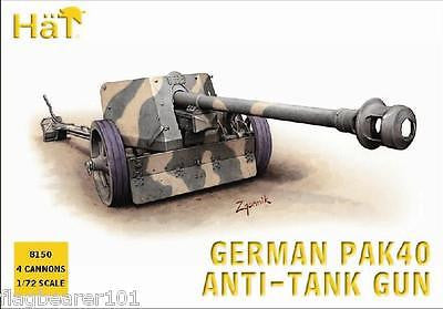 HAT 8150 WW2 GERMAN PAK 40 75mm ATG & CREW. 1/72 SCALE UNPAINTED PLASTIC FIGURES