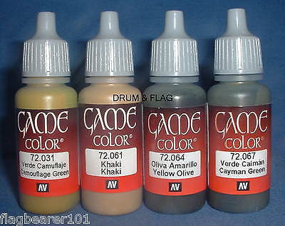 VALLEJO GAME COLOR PAINT - WW2 ALLIES SET - 4 x 17ml bottles. DF54