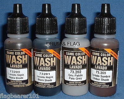 VALLEJO WASHES - 4 BOTTLE MIXED WASH PACK A - 4 x 17ml bottles. DF36