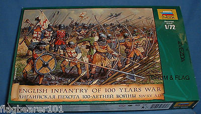 ZVEZDA 8060: ENGLISH INFANTRY - HUNDRED 100 YEARS WAR. MEDIEVAL. HYW. 1:72 SCALE