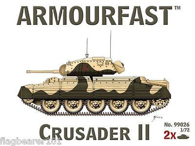 ARMOURFAST 99026 WW2 CRUSADER II. 1/72 scale plastic kit.
