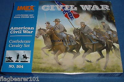 IMEX 504 CIVIL WAR CONFEDERATE CAVALRY. 1:72 SCALE. UNPAINTED PLASTIC FIGURES