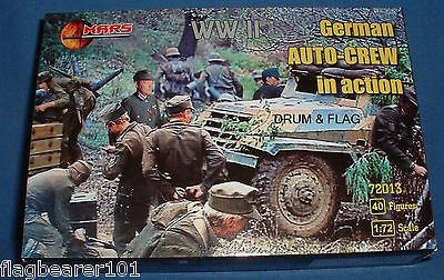 MARS 72013 WW2 GERMAN AUTO-CREW IN ACTION.  1/72 SCALE UNPAINTED PLASTIC FIGURES