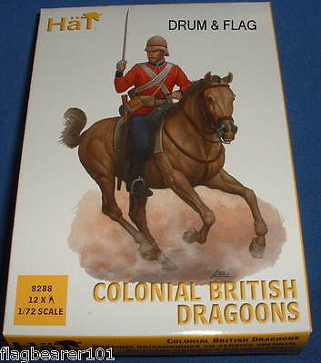 HAT SET 8288 - COLONIAL BRITISH DRAGOONS - 1:72 SCALE UNPAINTED PLASTIC FIGURES