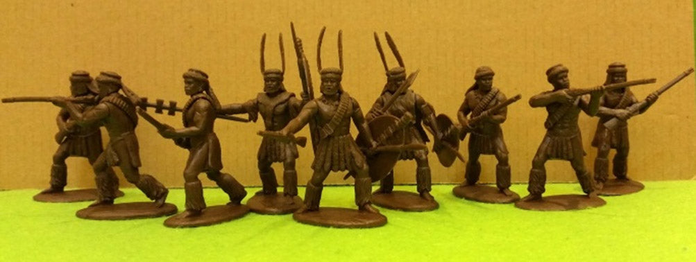 Expeditionary Force ZUL04 - Zulus with Rifles Including Officers - Zulu War - 54mm 1/32 Scale