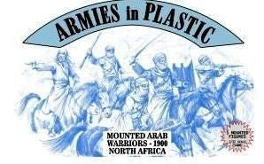 ARMIES IN PLASTIC #5487 - MOUNTED ARAB WARRIORS - NORTH AFRICA 1900 - 1/32 SCALE. RUST BROWN PLASTIC