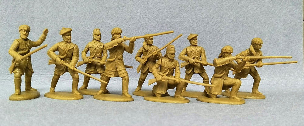 Expeditionay Force - 54 AMR 02 – F Frontiersmen in hunting shirts. 54mm Plastic War of 1812