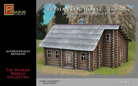 PEGASUS 7704 - RUSSIAN LOG HOUSE - TWO STORY IZBA. 1/72 SCALE UNPAINTED PLASTIC.