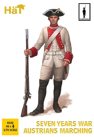 HaT 8322 - Austrian Infantry - Marching Poses - Seven Years War. 1/72 Scale Plastic Figures