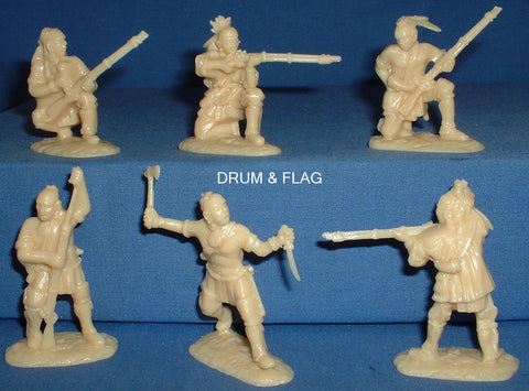 ARMIES IN PLASTIC #5548 - NORTHEASTERN WOODLAND INDIANS SET #1 1/32 SCALE. cream plastic