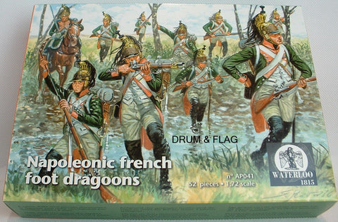 WATERLOO 1815 AP041 NAPOLEONIC FRENCH FOOT DRAGOONS. 1/72 SCALE. 52 FIGURES