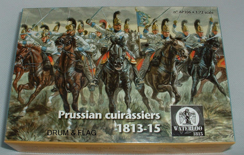 WATERLOO 1815 AP106 PRUSSIAN CUIRASSIERS 1812-15. 1/72 SCALE. 6 METAL MTD FIGURES