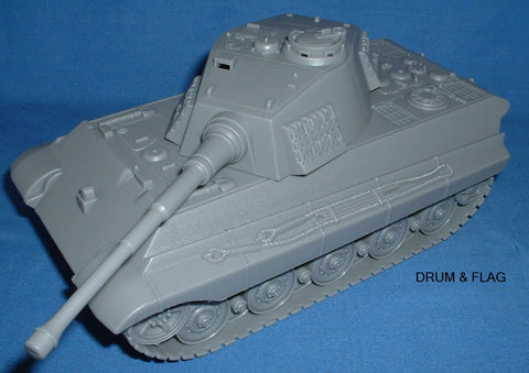 BMC GRAY KING TIGER TANK. 1/32 SCALE WW2 GERMAN PANZER. 25CM LONG x 11.25CM WIDE