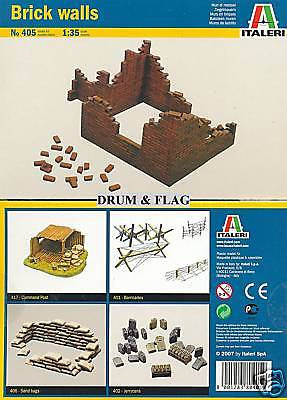 ITALERI 405. BRICK WALLS. 1:35 SCALE. ( BRICKS / WALL )