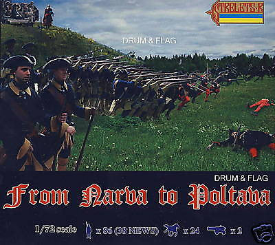 STRELETS 904 - FROM NARVA TO POLTAVA. SWEDISH. 1/72 SCALE PLASTIC FIGURE SET