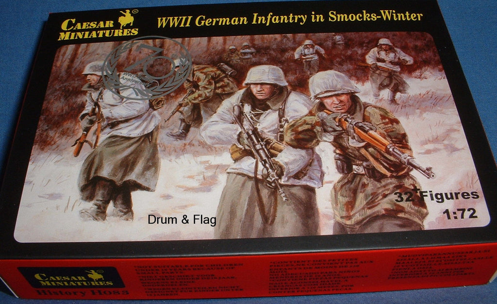 CAESAR SET #83 - WW2 GERMAN INFANTRY - IN WINTER SMOCKS. 1/72 SCALE PLASTIC