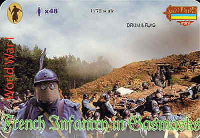 STRELETS M 57  WW1 FRENCH INFANTRY IN GASMASKS - 1/72
