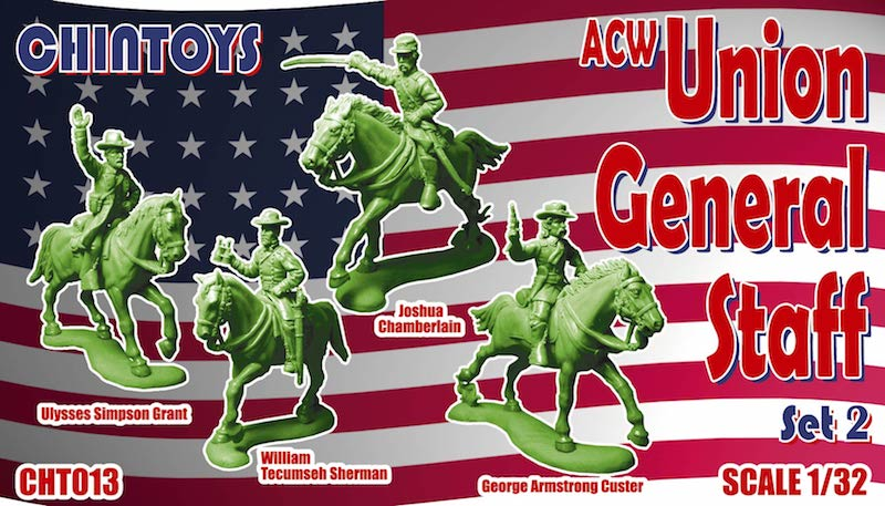 CHINTOYS cht013 ACW MOUNTED UNION GENERAL STAFF SET #2 1/32 SCALE 55-60mm