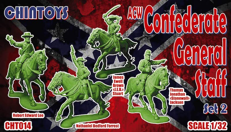CHINTOYS cht014 ACW MOUNTED CONFEDERATE GENERAL STAFF SET #2 1/32 SCALE 55-60mm