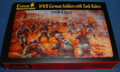 CAESAR Set #77. WWII GERMAN SOLDIERS WITH TANK RIDERS. 1/72 Scale