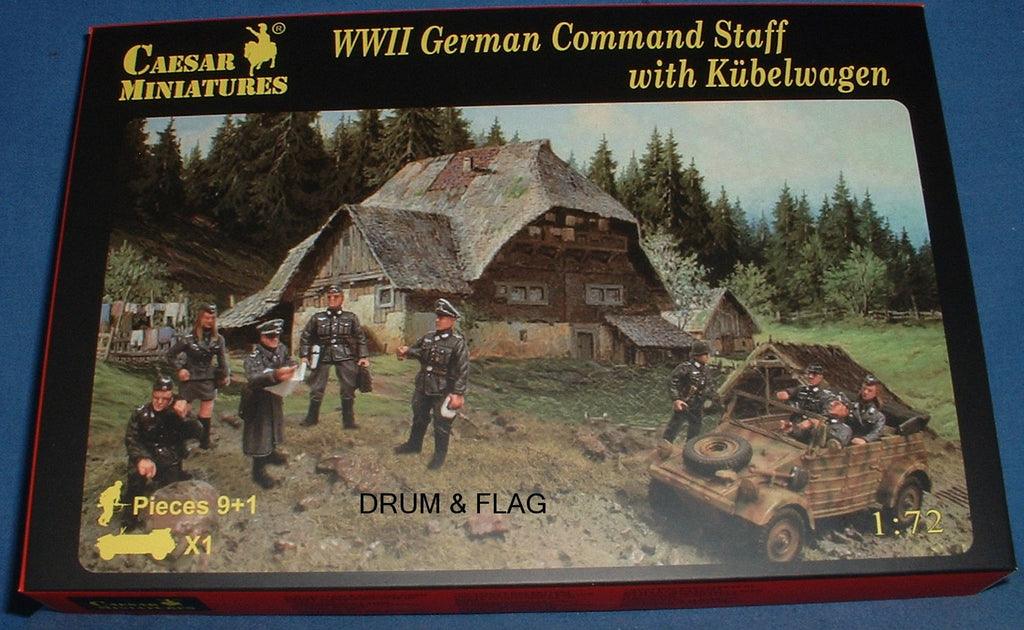 CAESAR Set #95. WWII GERMAN COMMAND STAFF with KUBELWAGEN. 1/72 Scale.
