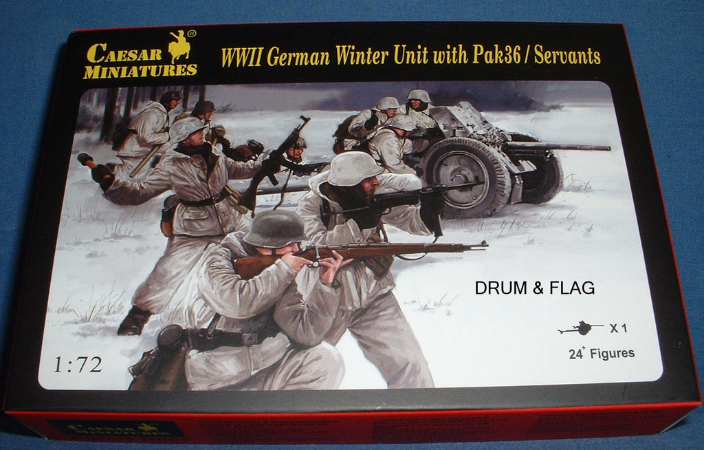 CAESAR SET 97. WWII GERMAN WINTER UNIT WITH PAK36 & CREW / SERVANTS. 1/72 Scale